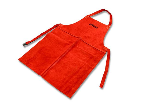 Red leather welding apron